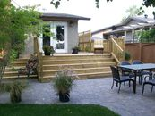 Paving stone patio, wood deck