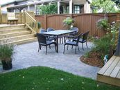 Paving stone patio, wood decks