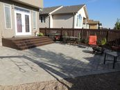 Paving stone patio, composite stairs