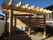 Cedar pergola with screen