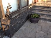 Paving stone patio, retaining wall stairs