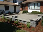 Paving stone patio with courtyard wall